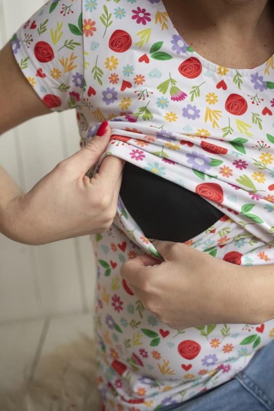 Kvietkované tričko na dojčenie s krátkym rukávom