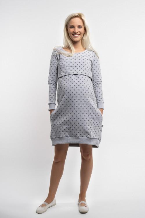 Teplákové tehotenské šaty na dojčenie 3v1